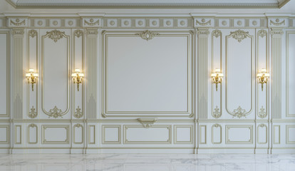 White wall panels in classical style with gilding. 3d rendering Wall mural