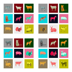 Set of  illustration in flat style animals