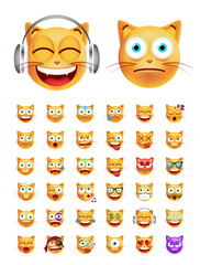 Set of Cute Emoticon Cat on White Background. Isolated Vector Illustration
