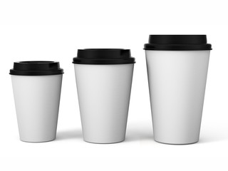 Mockup coffee white paper cup isolated on white background. Blank space for text, logo and other print branding design. 3d render