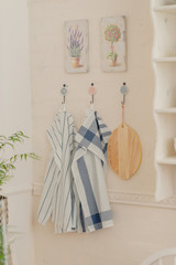 On the wall hang the kitchen towels
