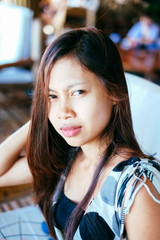Beautiful Portrait of young Asian girl smiling