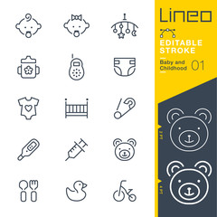 Lineo Editable Stroke - Baby and Childhood outline icons.