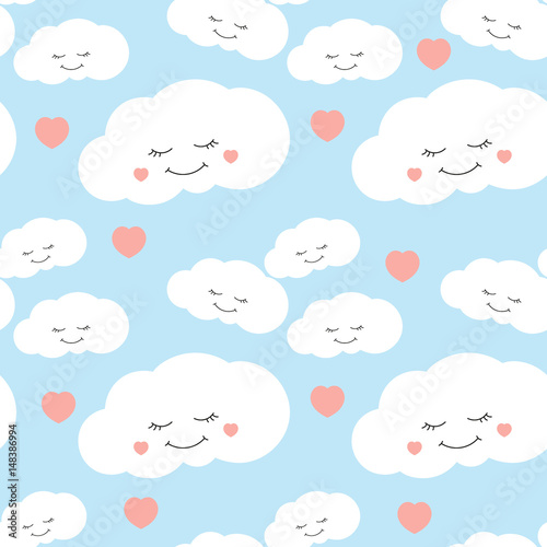 Cute baby cloud pattern vector seamless  Kids print with