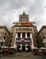 Clouds gather over Palace of Culture in Warsaw.