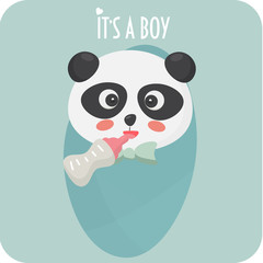 Baby arrival card for baby shower party. It's a boy card. New born baby card.