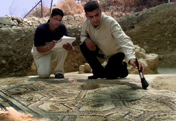 PALESTINIAN MINISTRY OF ANTIQUITIES WORKERS UNCOVER MOSAIC FLOOR OF 4THCENTURY CHRISTIAN CHURCH IN ...
