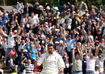 England's Harmison celebrates taking the wicket of Australia's Martyn during the third test of the Ashes ...