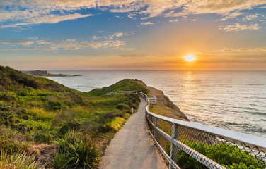 Seaside path at sunrise in Newcastle, Australia