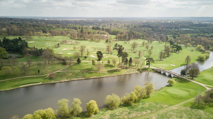 English countryside, bridge and river; aerial view.