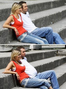 A combination of twopictures shows a couple posing with the wearable beer belly (Bierbauch) for man and the wearable wine bra (Getraenke-BH) for woman in Ismaning