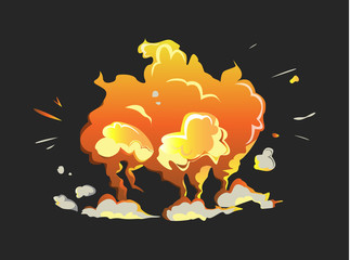 Isolated explosion icon on black background. Cartoon comic boom effect.