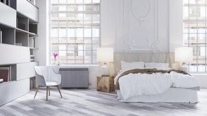 Modern bright bedroom interior