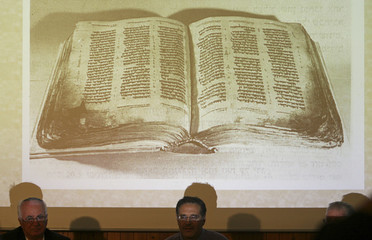 A picture depicting the Aleppo Codex is displayed in Jerusalem