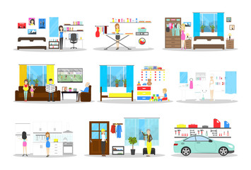 House interior set. Inside the house. Bedroom and kitchen, bathroom and more on white background.