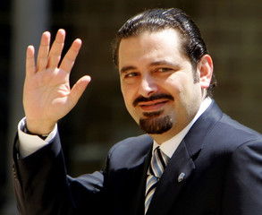 Lebanese parliament majority leader Saad al-Hariri waves in Beirut