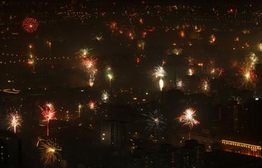Fireworks illuminate the skyline of Beijing during the Chinese New Year celebrations