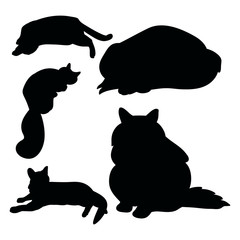 Black silhouettes of cats on a white background, set of vector illustrations