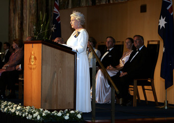 Queen Elizabeth II of Britain delivers a speech during an official dinner at Parliament House in Canberra