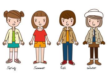 four girls representing the four seasons cartoon flat style