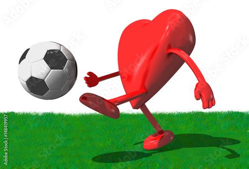3d Rotes Herz Mit Armen Und Beinen Spielt Fussball
