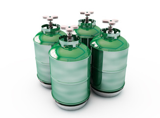 close up of a blue Red and green methane gas cylinder (3d render)