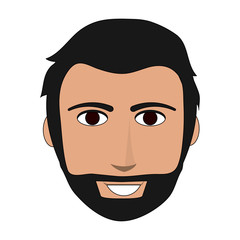 color image front face man with beard and moustache vector illustration