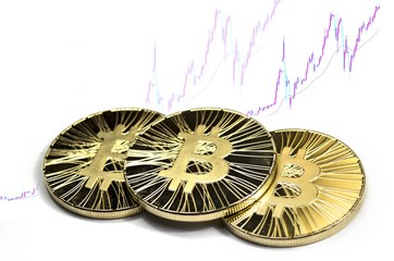 Three shiny bitcoin coins on white background with trading chart