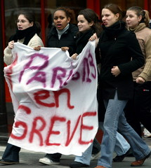 """Students march behind a banner which reads """" Paris 13 on strike """" (University number 13rd) during a .."""