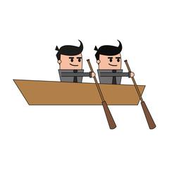 color image teamwork business in boat vector illustration