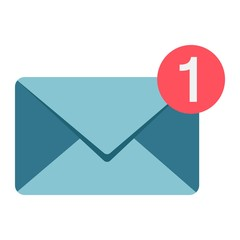 New message flat icon, email and website button