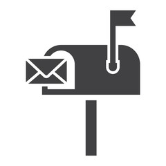Mailbox solid icon, letter and website