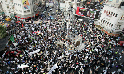 General view of demonstration against Pope Benedict XVI in centre of West Bank town of Ramallah