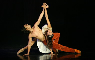 "Hong Kong ballet dancers Leung and Ying perform during a rehearsal of the ""Turandot"" opera in ..."
