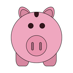 color image cartoon pink piggy bank with dollar coins vector illustration