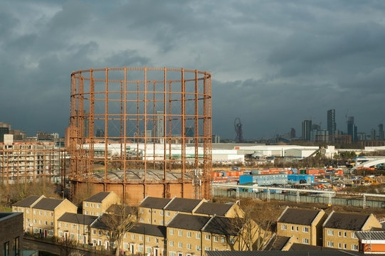UK, London, The Oval Gasholder in the city view