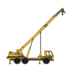 color image cartoon construction crane truck vector illustration