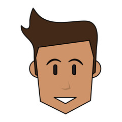 color image cartoon front face man with hairstyle vector illustration