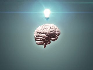 Brain with light bulb - 3d render in muted colours with copy space