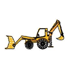 color crayon stripe industrial machine excavator vector illustration