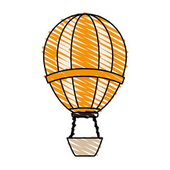 color crayon stripe hot cartoon air balloon vector illustration