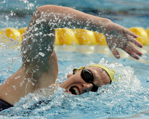 Australian swimmer Linda Mackenzie competes at the World Aquatic Championships in Montreal.