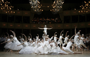 Dancers of the State Opera Ballet perform during a dress rehearsal for the traditional Opera Ball in Vienna