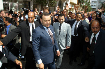 MOROCCO'S KING MOHAMMED VI VISITS BOMBED SITES IN CASABLANCA.