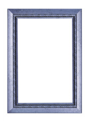 Blue vintage picture and photo frame isolated on white background