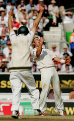 Australia's Warne celebrates during the final day of the fifth test of the Ashes series at The Oval in London.
