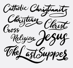 Jesus Christ hand written typography. Good use for logotype, symbol, cover label, product, brand, poster title or any graphic design you want. Easy to use or change color