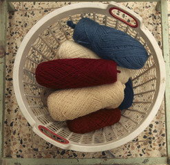 Yarn used to weave carpets is seen inside a basket at a carpet factory in Mashad