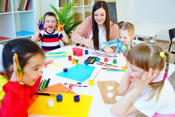 Art lesson in kindergarten