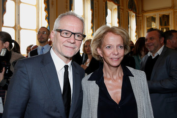 Cannes Film festival general delegate Thierry Fremaux poses with CNC Director Frederique Bredin during a reception before the 70th Cannes Film Festival at the Culture ministry in Paris